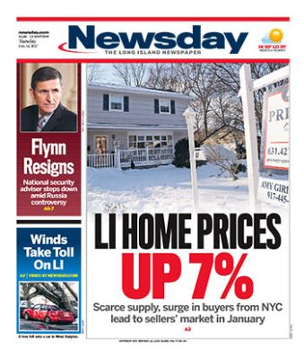 Newsday LI Home Prices up 7%
